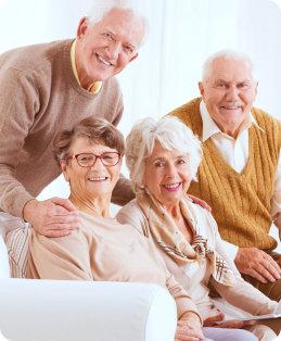 elderly group smiling