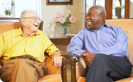 elderly men talking